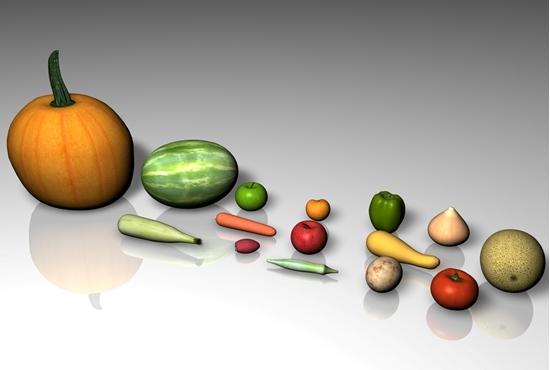 Picture of 15 Fruit and Vegetable Food Models FBX Format
