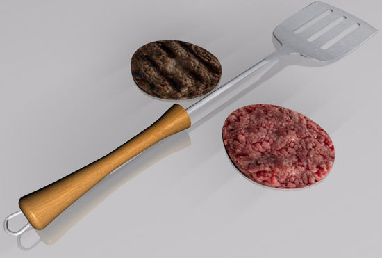Picture of Beef Patties and Grill Spatula Food Models FBX Format