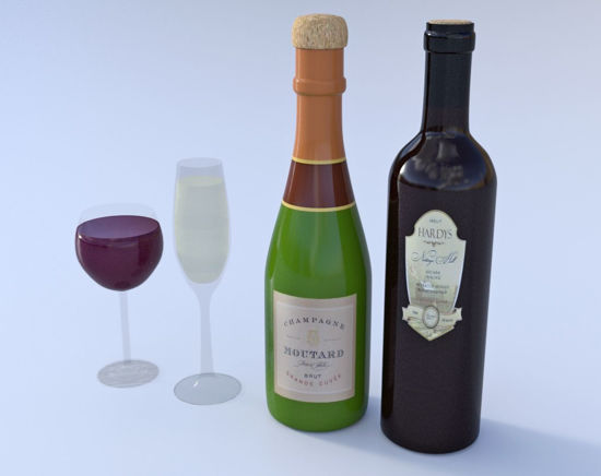 Picture of Bottles and Glasses Model Set Poser Format