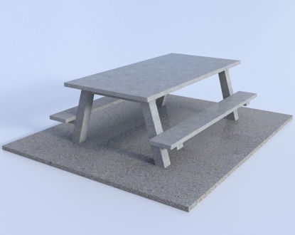 Picture of Concrete Picnic Table and Pad Models Poser Format