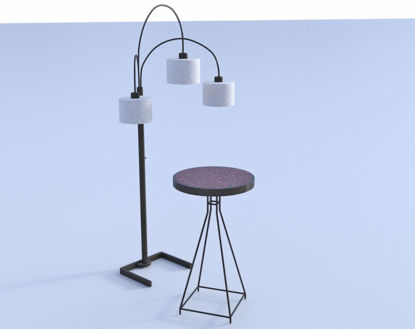 Picture of Contemporary Table and Lamp Models Poser Format