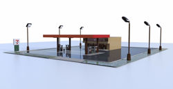 Convenience Store and Parking Lot Environment FBX Format