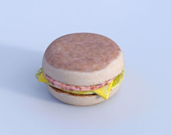English Muffin Breakfast Sandwich and Extra Food Models Poser Format