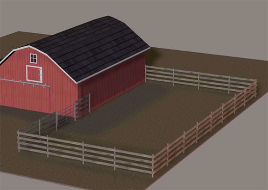 Picture of Fenced Farm Paddock Model Poser Format