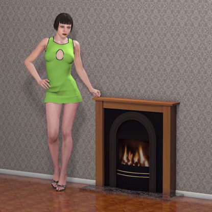 Picture of Fireplace with Wall Environment Poser Format