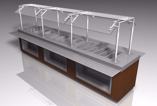 Picture of Food Bar With Sneeze Guard Model Poser Format