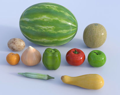 Picture of Fresh Fruit and Vegetable Models Set 1 Poser Format