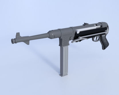 Picture of German MP-40 Submachine Gun Model  Poser Format