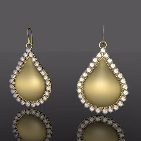 Picture of Gold and Diamond Teardrop Earring Models Poser Format