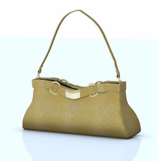 Picture of Gold Fabric Fashion Purse Model Poser Format