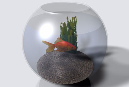 Picture of Gold Fish and Bowl Model FBX Format