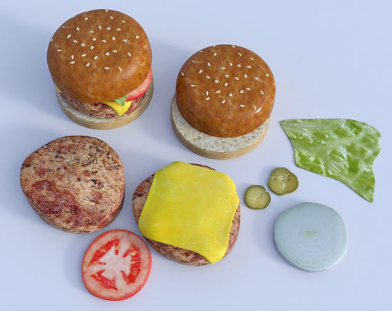Picture of Hamburger and Topping Models Poser Format
