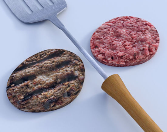 Picture of Hamburger Patties and Grill Spatula Models Poser Format
