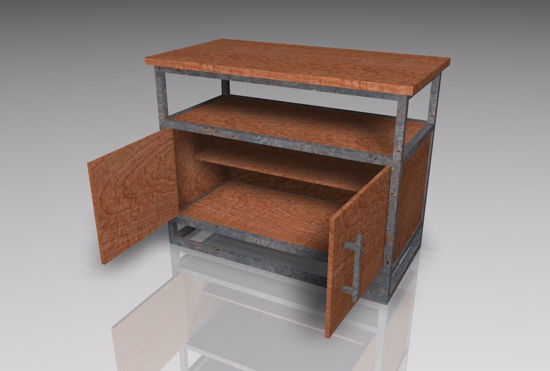 Picture of Industrial Style TV Stand Furniture Model Poser Format