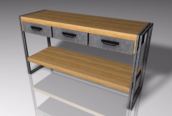 Picture of Industrial Wall Table Furniture Model Poser Format