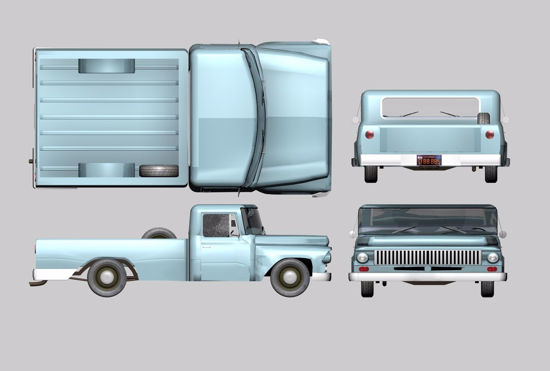Picture of International Harvester Farm Truck Model FBX Format