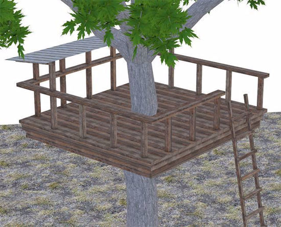 Picture of Kid's Tree Fort Environment and Tire Swing Add-on Poser Format