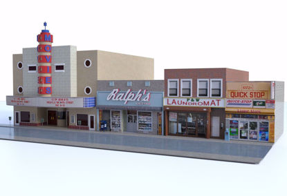 Picture of Large City Street and Buildings Scene Poser Format