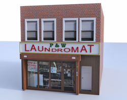 Laundry Mat Building Model FBX Format