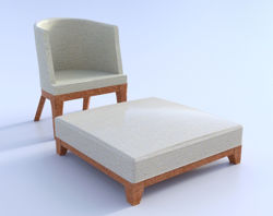 Modern Chair and Ottoman Furniture Models Poser Format
