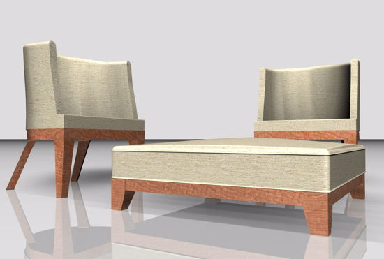 Picture of Modern Chair and Ottoman Furniture Models Poser Format
