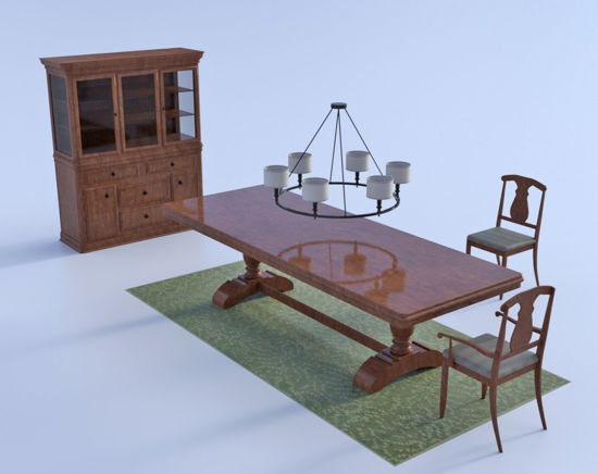Picture of Modern Dining Furniture Models Poser Format