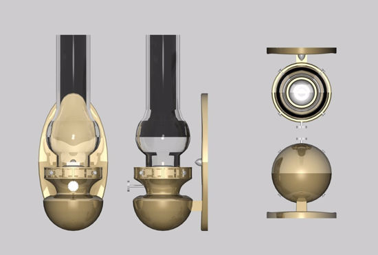 Picture of Oil Lantern Wall Light Fixture Model FBX Format