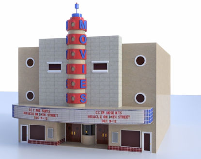 Picture of Old Movie Theater Building Model FBX Format