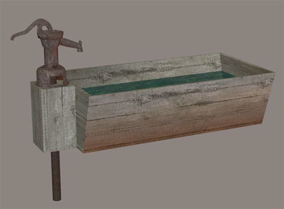 Picture of Old West Water Trough and Pump Model Poser Format