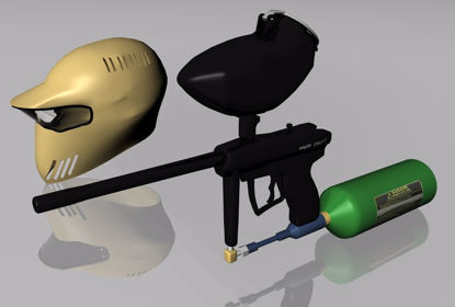 Picture of Paintball Gun and Helmet Models FBX Format