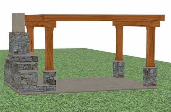 Picture of Outdoor Patio With Fireplace Model FBX Format