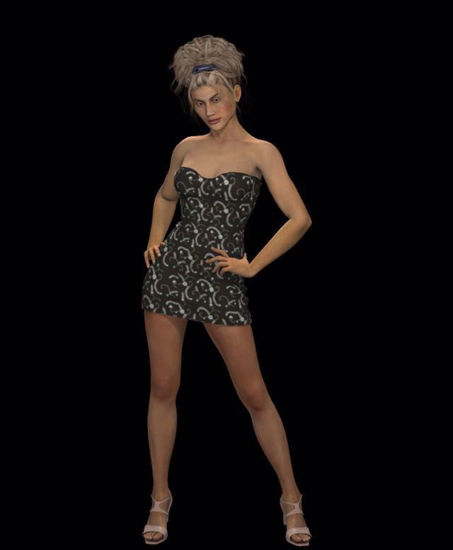 Picture of Patterned Strapless Dress for Hivewire3D Dawn Figure