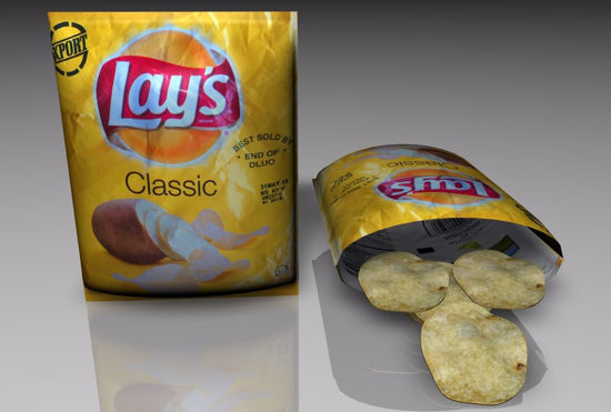 Picture of Potato Chips and Bags Food Models FBX Format