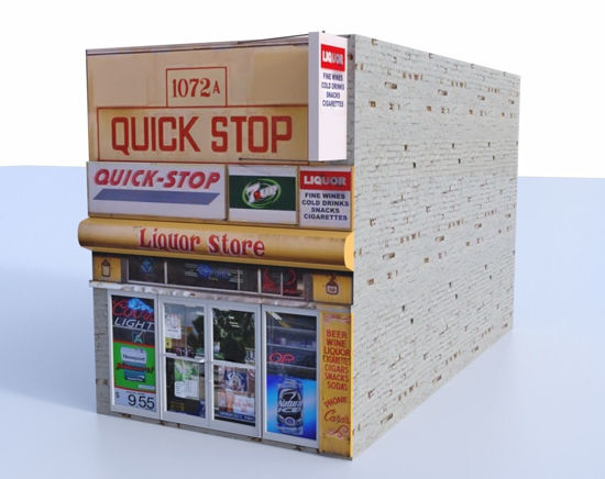 Picture of Quick Mart Store Building Model FBX Format