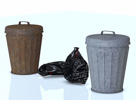 Picture of Trash Can and Trash Bag Models Poser Format