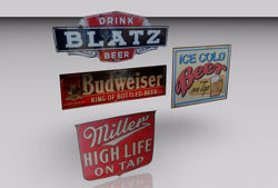 Vintage Bar Sign Models FBX Format