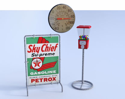Picture of Vintage Gas Station Add-on Models Poser Format