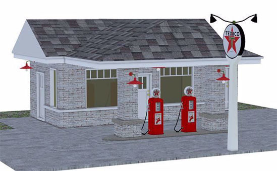 Picture of Vintage Gas Station Scene Poser Format