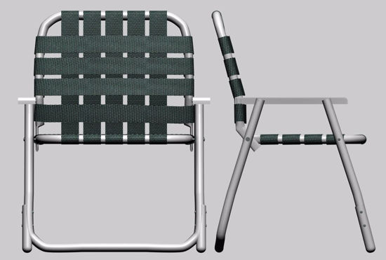 Picture of Webbed Lawn Chair Furniture Model FBX Format