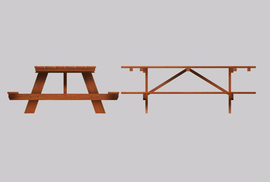 Picture of Wooden Picnic Table Furniture Model FBX Format