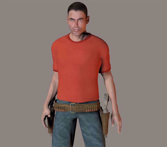 Picture of Old West Six Shooters and Gun Belt Models Poser Format