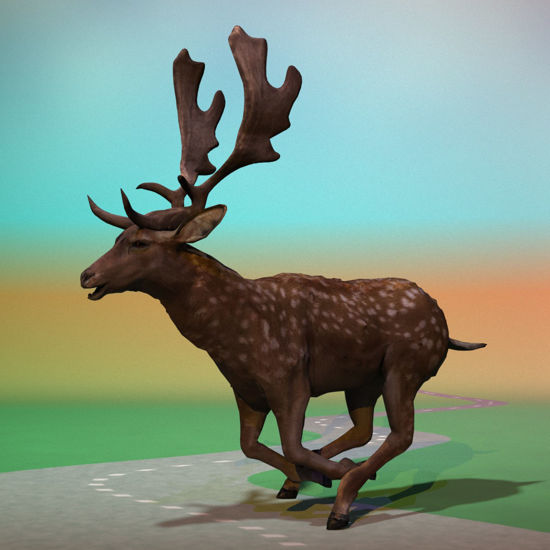 Fallow Deer, Sprinting Pose (Figure for Poser)