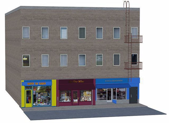 Picture of 3 Store Building and Streets City Environment Poser Format