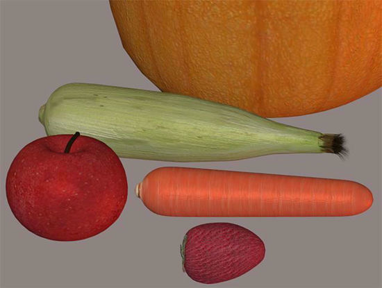 Picture of Fresh Fruit and Vegetable Models Set 2 Poser Format