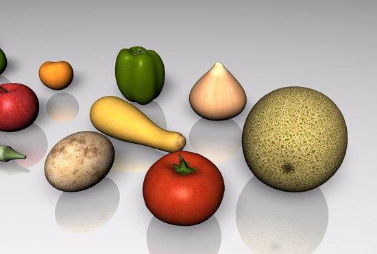 Picture of 15 Fruit and Vegetable Food Models FBX Format