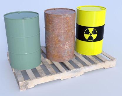 Picture of 55 Gallon Drums and Pallet Models Poser Format
