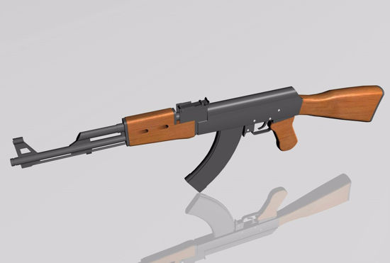 Picture of AK-47 Rifle Weapon Model FBX Format