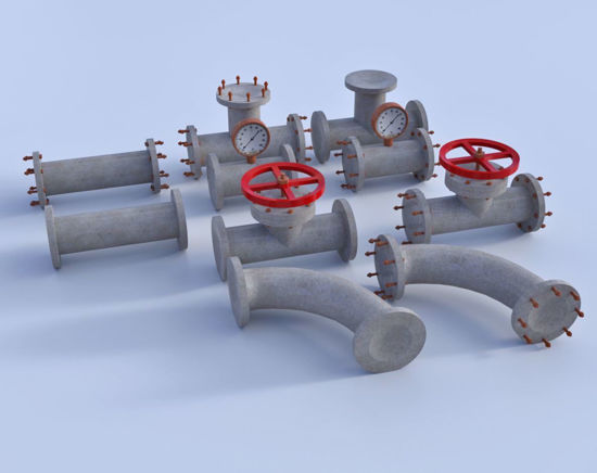 Picture of Modular Industrial Pipe Models Poser Format