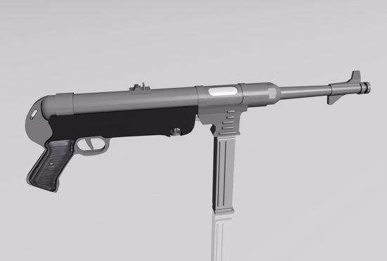 Picture of MP-40 Submachine Gun Weapon Model FBX Format