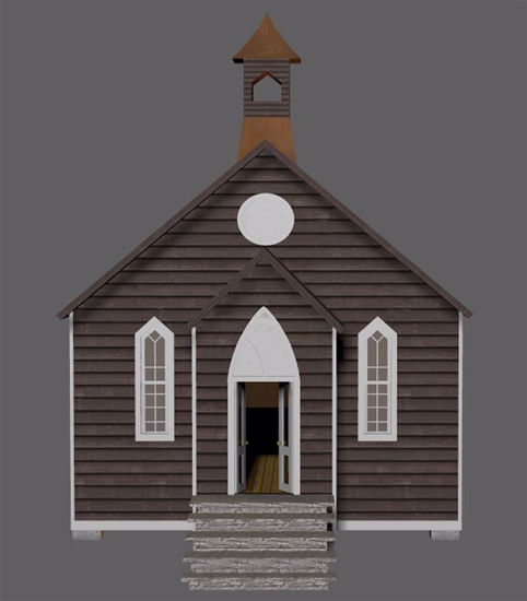 Picture of Old West Church Building Model FBX Format